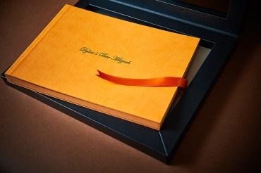 custom luxury wedding album in yellow and black theme