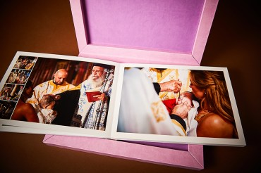 luxury wedding album in pink design