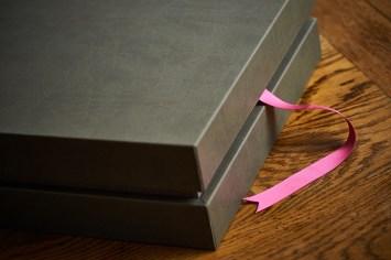 luxury wedding album in light gray colours box
