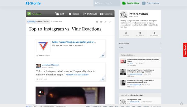 Top 10 Instagram vs. Vine Reactions  with tweets  · PeterLevitan · Storify