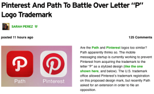 "Pinterest And Path To Battle Over Letter ""P"" Logo Trademark 