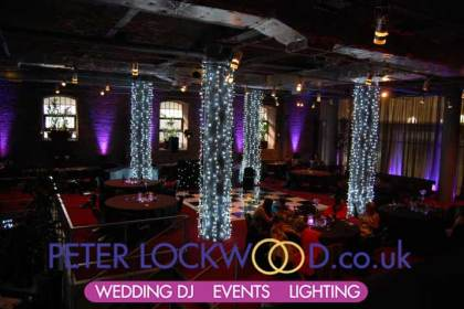 big pillar fairy light draping