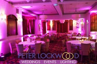 pink wedding uplighting