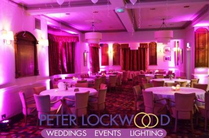 pink wedding lighting