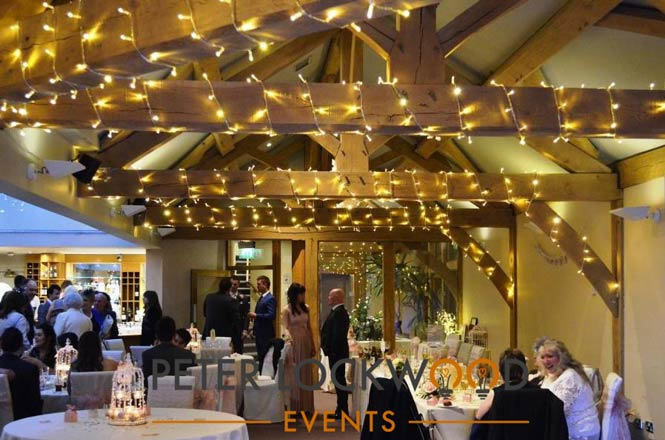 fairy lights round oak beams
