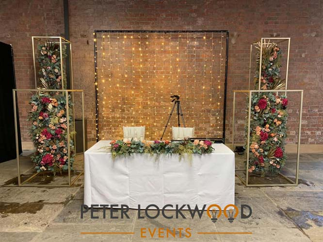 Fairy light naked wedding backdrop