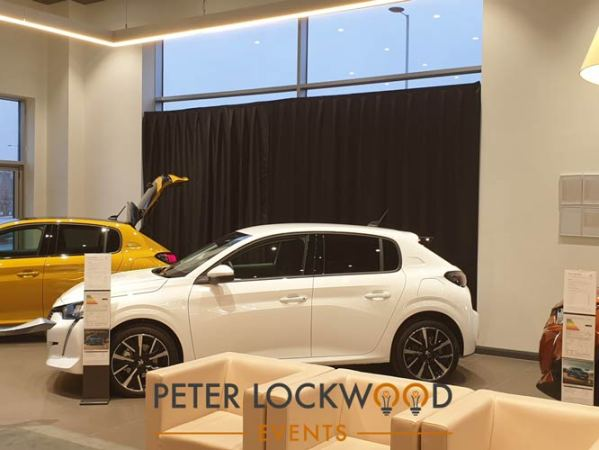 Pipe and Drape Hire in a Car Showroom