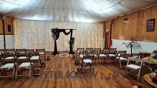 wedding backdrop in the wellbeing farm
