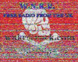 Slow-scan television image sent over shortwave by the UK pirate station WNKR