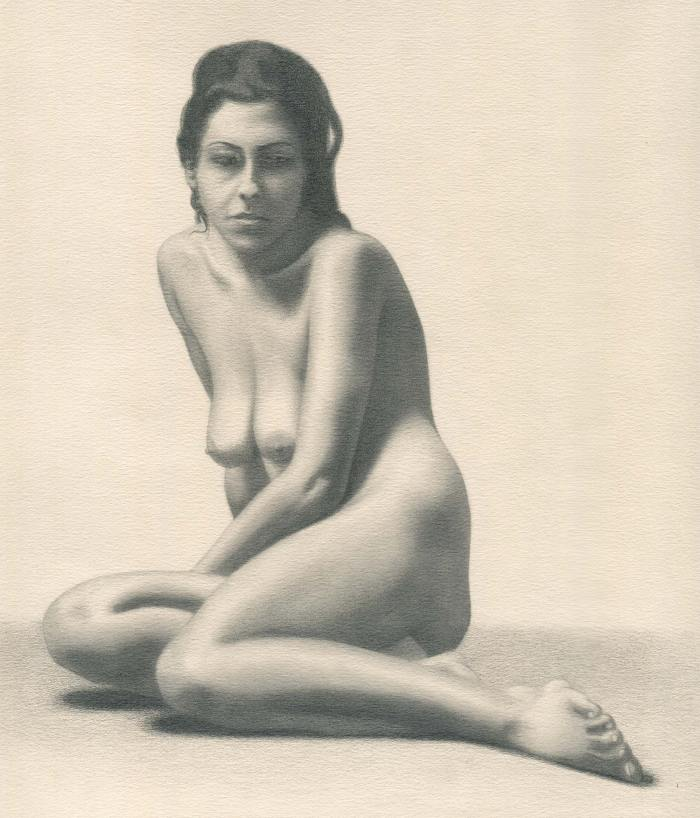Female nude figure drawing from life