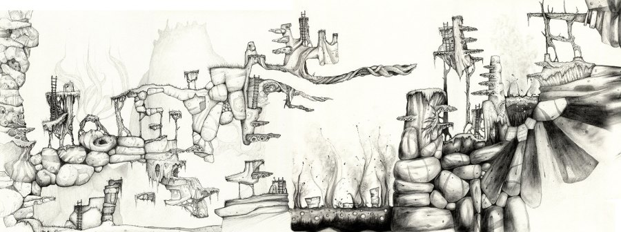 Level design final pencil rendering composite for a platform game.