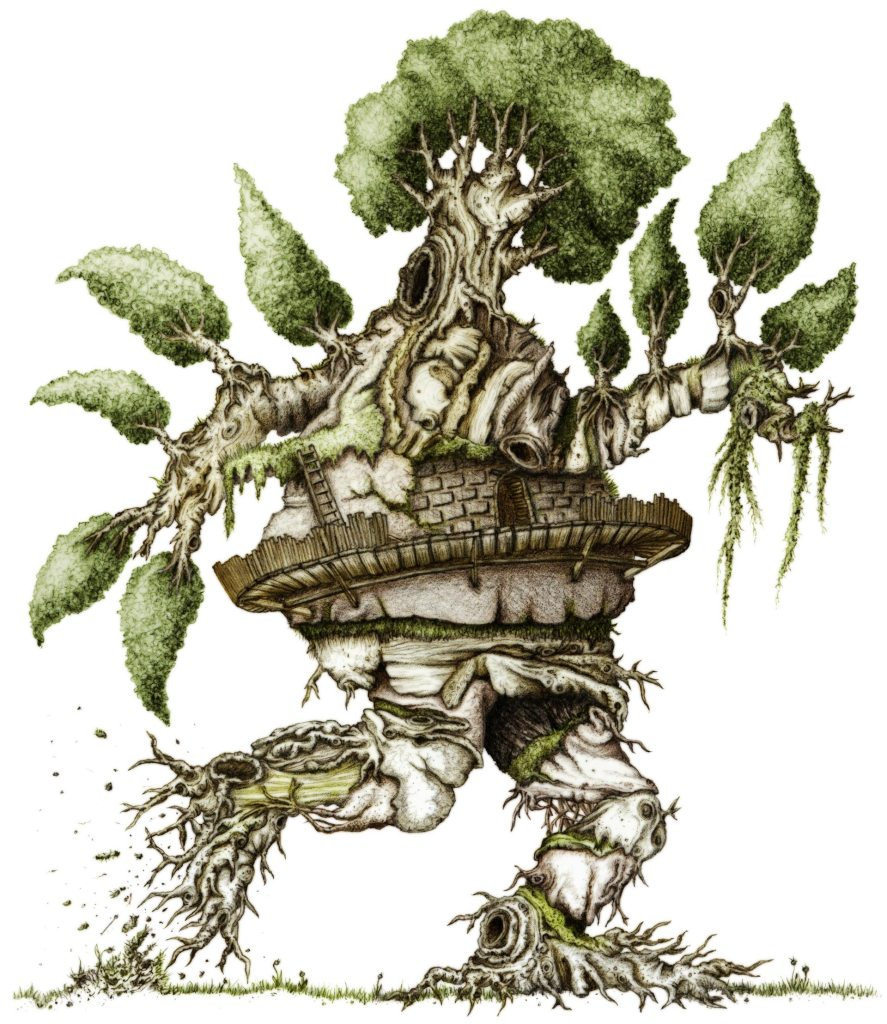 The first in the Treople series - A walking tree creature with a dark entrance fenced off around it's belly.