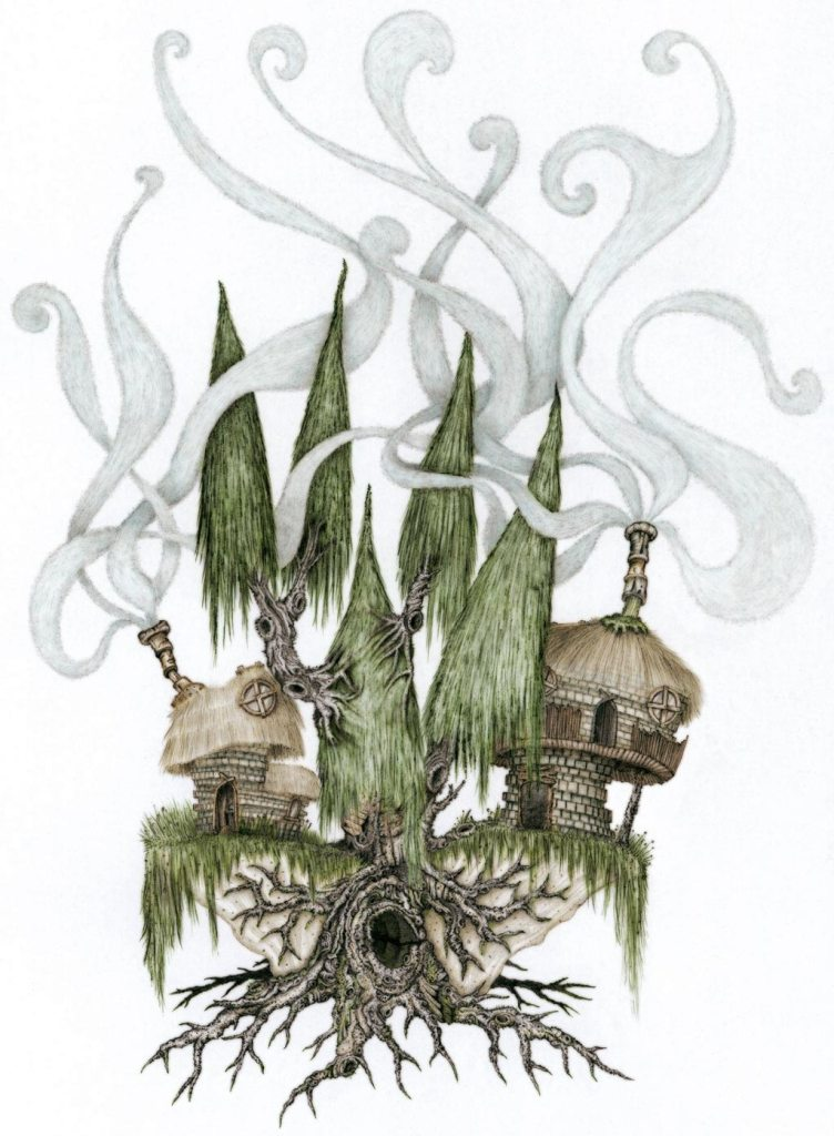 An ancient tree with strong branches holding some smoking wooden houses.