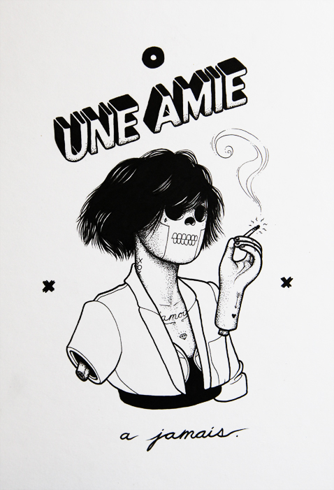 Une Amie - 2013 - Ink on illustration board