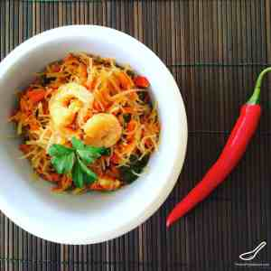 A Colourful Salad, Delicious Cold or Warm. A Central Asian Classic - Bean Vermicelli Noodle Funchoza with Chicken and Prawns (Фунчоза)