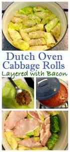 Dutch Oven Cabbage Rolls, made with layers of bacon. A family dinner favorite the whole family loves. Comfort food - Cabbage Rolls (Голубцы)