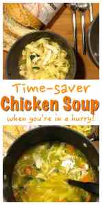 A real soup, filling and nutritious for your whole family. An easy comfort food. Easy Chicken Noodle Soup Recipe using a Roast Chicken