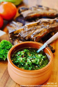 Chimichurri ready to spread over bbq meat