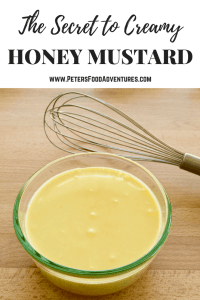 I could drink this stuff! A delicious homemade Creamy Honey Mustard Sauce Recipe with mayo, honey, mustard, sour cream, with a pinch of onion and garlic powder! Sour Cream Honey Mustard Sauce Recipe