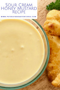 I could drink this stuff! A delicious homemade Creamy Honey Mustard Sauce Recipe with mayo, honey, mustard, sour cream, with a pinch of onion and garlic powder! How to Make Honey Mustard Sauce Recipe