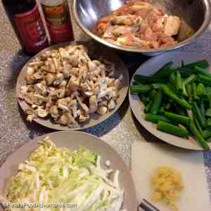 Chicken Wing and Mushroom Stir Fry ingredients