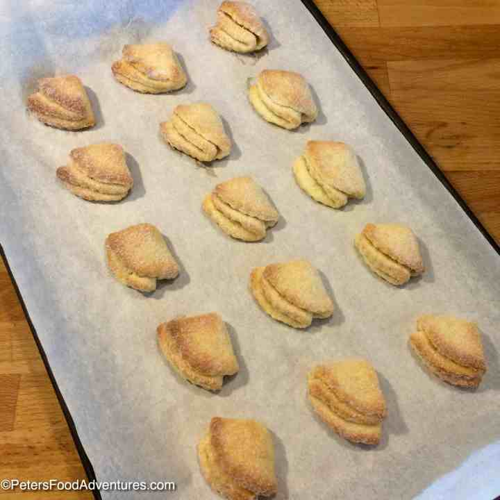 Baking Farmer's Cheese Cookies on a tray