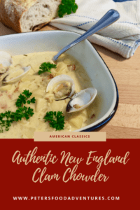 A real clam chowder recipe, thick and creamy with potato, bacon and wine. So good you'll want to eat the bowl! Authentic New England Clam Chowder