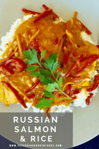 A delicious Salmon and Rice Dinner, made with boneless salmon fillets, carrots and red peppers. Served over rice in a type of thick sauce called Podlivka - Salmon and Rice Podliva (Рис с Подливой из Лосося)
