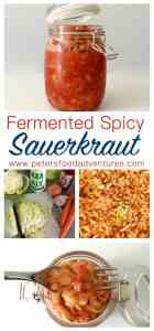 Naturally fermented cabbage and full of natural probiotics. Easy to make, a great boost to your immune system, with a spicy kick. Perfect with burgers! - Fermented Spicy Sauerkraut