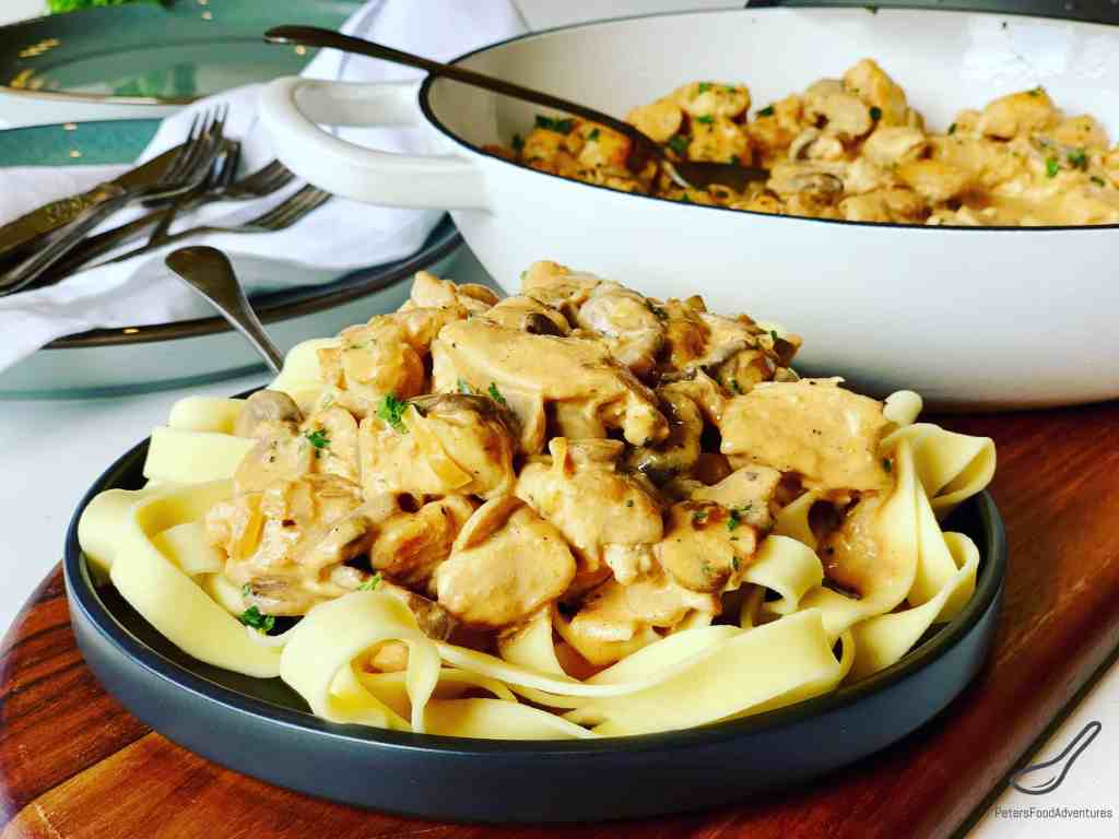 Chicken Stroganoff served on a plate for dinner