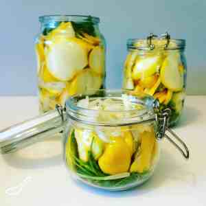 Quick Pickled Summer Squash - A great way to preserve your vegetables. These are so good! Throw a few on a hamburger, Perfect condiment for bbq season this summer!