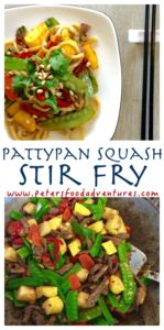 Asian Stir Fry with packed full of healthy veggies like Summer Squash also knowns as Pattypan or Zucchini, Snow Peas, Pine nuts, Peppers, Noodles and more! Pattypan Squash Stir Fry with Pine Nuts