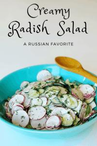 Creamy Radish and Cucumber Salad in a bowl