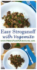 Australian Vegemite with Russian Stroganoff served with rice, Fusion at it's best - Easy Vegemite Stroganoff