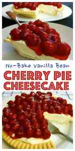 Is it a Cherry Pie or Cherry Cheesecake? It's Both! Incredibly easy to make and a crowd pleaser. Philadelphia Cream Cheese, vanilla bean, sweetened condensed milk and cherry pie filling. No Bake Vanilla Bean Cherry Cheesecake Cherry Pie!