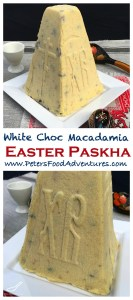 This Paskha Russian Cheesecake recipe tastes so much better with White Chocolate and Macadamias and dried cranberries. Made from Tvorog or Farmers Cheese, a Russian Easter favorite - Paskha with White Chocolate Macadamia - (Творожная Пасха)