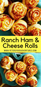 Ranch Ham & Cheese Rolls recipe using a yeast dough from a bread machine. No kneading, real yeast dough, easy recipe. Baked with ranch dressing for extra flavor boost!
