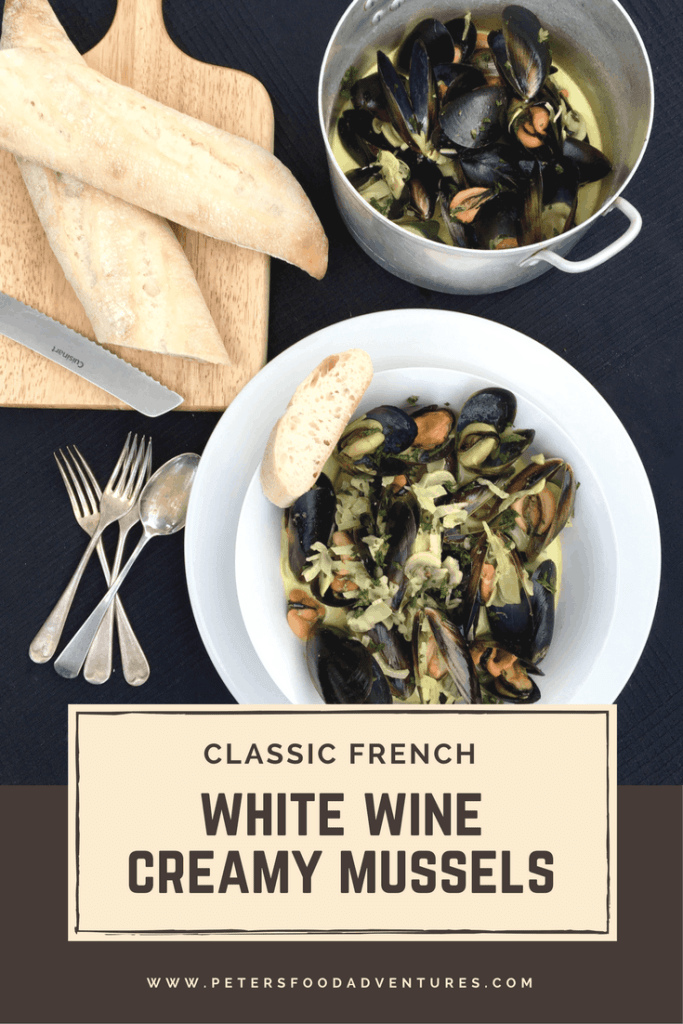White Wine Creamy Mussels in a bowl, top view down