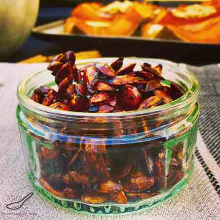 This sweet and spicy pumpkin seed recipe is a delicious snack with amazing health benefits - Sweet Chili Roasted Pumpkin Seeds