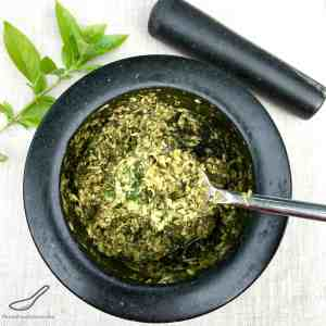 Homemade Pesto using a Mortar and Pestle, don't wimp out and use a food processor! Roll up your sleeves and bash your frustrations away. Pesto and therapy. Your welcome. Easy Pesto recipe using a Mortar and Pestle