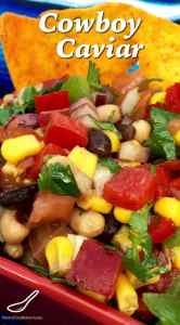 This classic from Texas is sure to be King of the Bbq this summer! Toss the ingredients together and you're done! It's like a bean salad on steroids - This recipe is a keeper! Cowboy Caviar Bean Salad and Dip
