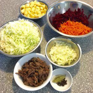 Classic Russian Beet Borscht Recipe (Борщ) preparation