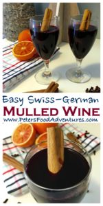 A Swiss-German Hot Mulled Wine that is enjoyed during the holidays, or when it's cold outside. Similar to Glogg, Quentao, Vin Chaud and Glintwein. Perfect for the holidays, It tastes like Christmas in a cup. Glühwein Mulled Wine (Глинтвейн)