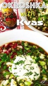 Okroshka is a cold summer soup, made with garden fresh seasonal ingredients, and Russian rye bread Kvass. A totally different take on cold summer soups: A Russian Classic.