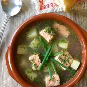Rustic and Authentic Russian Fish Soup and Fish Broth made with Salmon and Trout, enjoyed for hundred of years - Authentic Ukha Fish Soup (Уха)