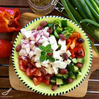 Traditional Greek Salad with Easy Dressing