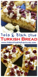 Toasted Turkish Bread with crumbled Feta, generously topped with Kalamata Olives. Fancy toast, perfect for breakfast, delicious lunch or easy snack - Toasted Turkish Pide with Olives & Feta