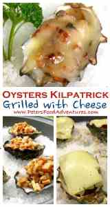 Grilled Oysters Kilpatrick with bacon & worcestershire, topped with Havarti or Edam cheese, easy gooey appetizer - Grilled Oysters Kilpatrick with Cheese