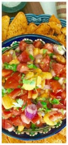 Easy and delicious, sweet, tangy and spicy, the perfect salsa dip snack with nachos for Super Bowl, or simply on top of grilled chicken or fish - Fresh Mango Salsa Recipe