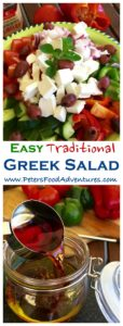 This traditional Cucumber Greek Salad recipe with Easy Oregano Salad Dressing Vinaigrette! Packed with Feta, Tomatoes, Peppers and Onions, so delicious! Traditional Greek Salad with Easy Dressing Recipe